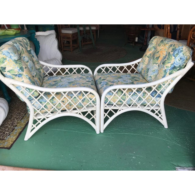Boho Chic Vintage Coastal Criss Cross Rattan Lounge Chairs-A Pair For Sale - Image 3 of 11