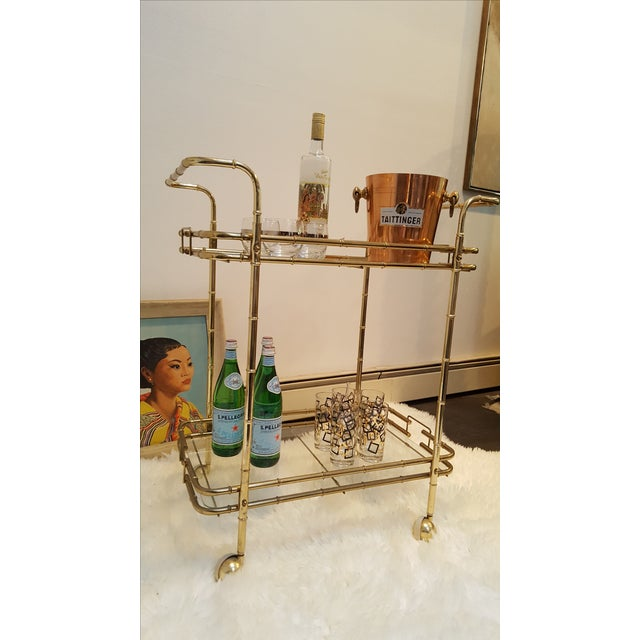 Brass Plated Mid Century Bamboo Bar Cart - Image 3 of 11