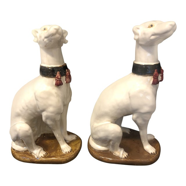 Vintage Greyhound Whippet Dog With Fringed Collar Figurines Statutes - a Pair For Sale