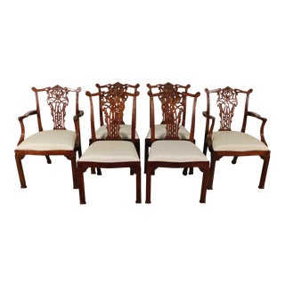 Maitland Smith Chinese Chippendale Splatback Mahogany Dining Chairs - Set of 6 For Sale