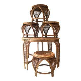 1960s Boho Chic Wicker Rattan Cane Petite Round Table & Stools For Sale