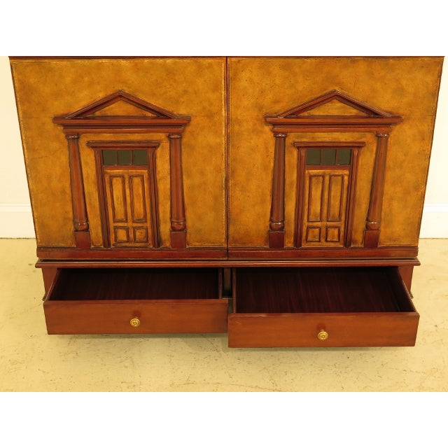 Maitland Smith Leather Wrapped House Form China Cabinet For Sale - Image 10 of 13
