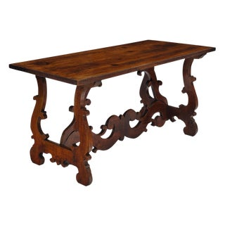 "Antique Spanish Renaissance ""Lyra"" Trestle Table For Sale"