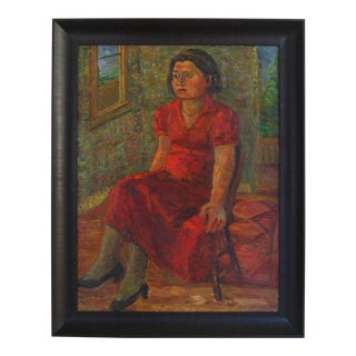 """Jennings Tofel """"Portrait of Pearl"""" Expressionist Portrait in Oil, 1935 1935 For Sale"""