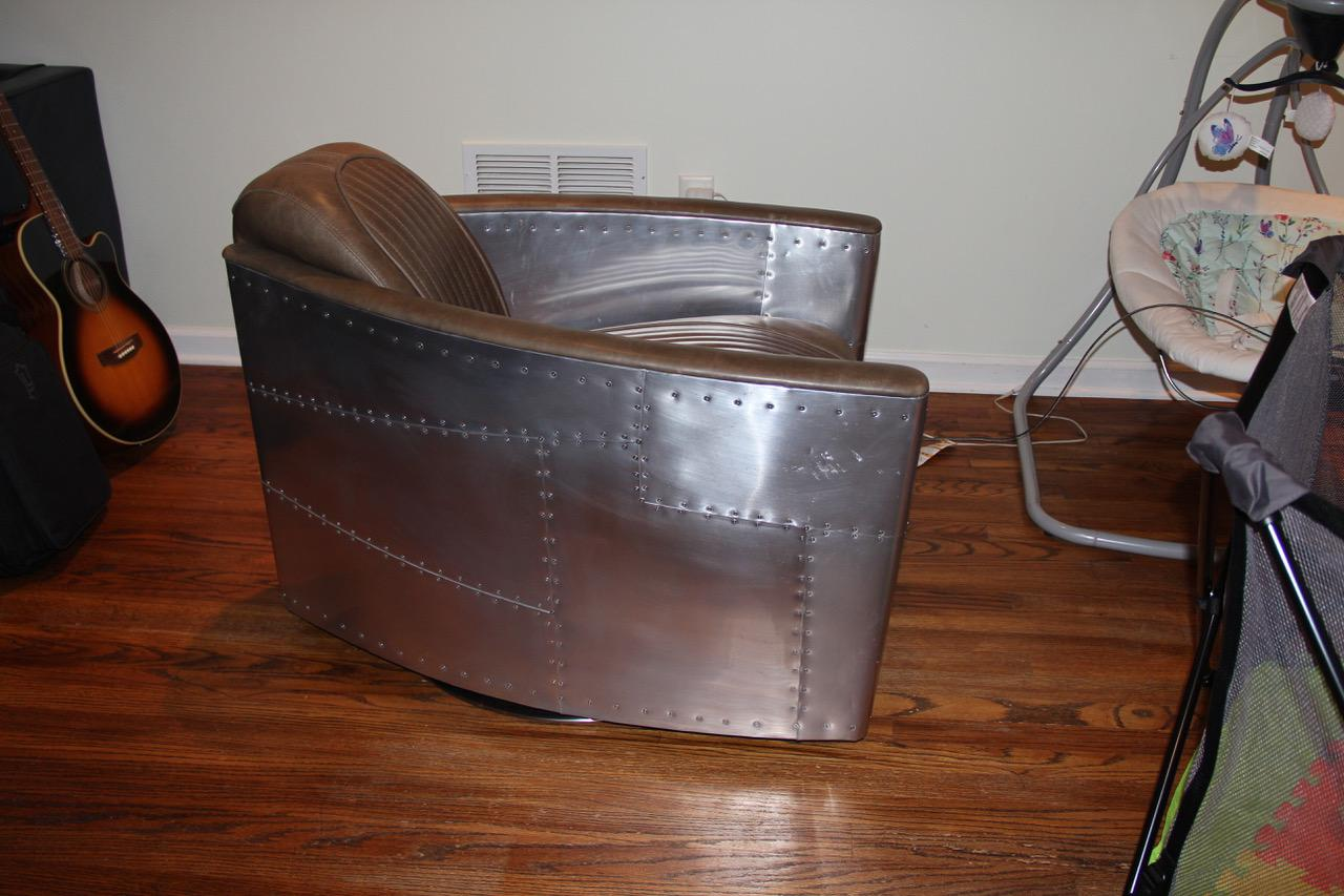 Restoration Hardware Aviator Swivel Chair Chairish