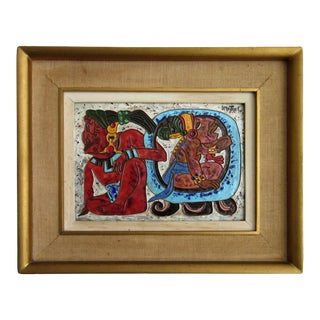 Signed Aztec Style Enamel by Mexican Artist, Jose Mestrel For Sale