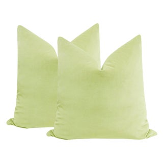 "22"" Celadon Velvet Pillows - a Pair For Sale"