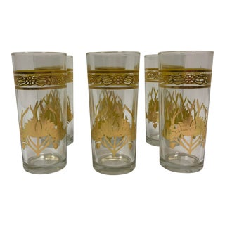 Art Deco Style Gold Glasses - Set of 6 For Sale