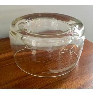 Mid-Century Modern Glass With Ship Etching Ashtray Preview