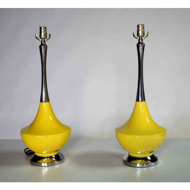Mid-Century Modern Yellow Ceramic and Chrome Genie Lamps - A Pair For Sale - Image 3 of 3