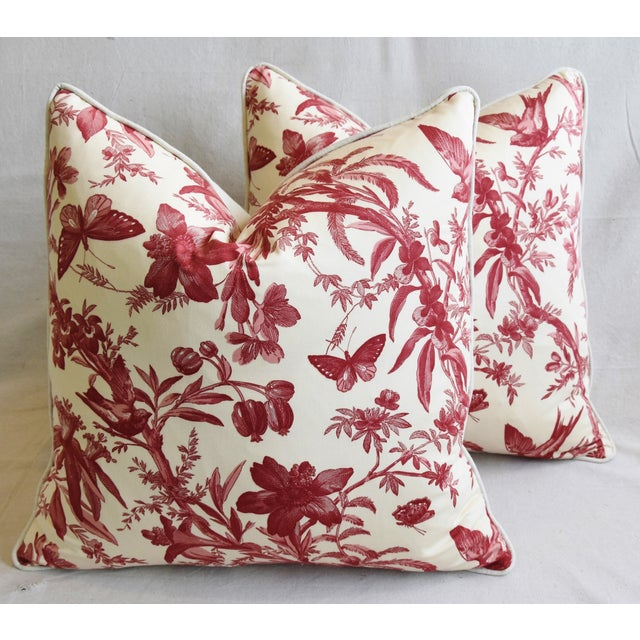 "Cotton P. Kaufmann Aviary & Floral Toile Feather/Down Pillows 23"" Square - Pair For Sale - Image 7 of 13"