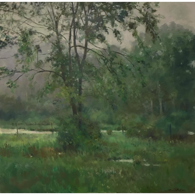 "Thomas McNickle ""Elm in the Rain"" Contemporary Traditional Landscape Oil Painting For Sale - Image 9 of 10"