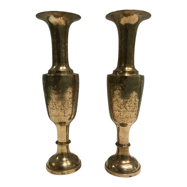 Oversized Brass Vases- A Pair - Image 1 of 6