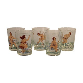 """""""Naughty but Nice"""" Glasses - Set of 5 For Sale"""