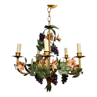 Vintage Italian Tole Style Flower and Grapes Chandelier For Sale