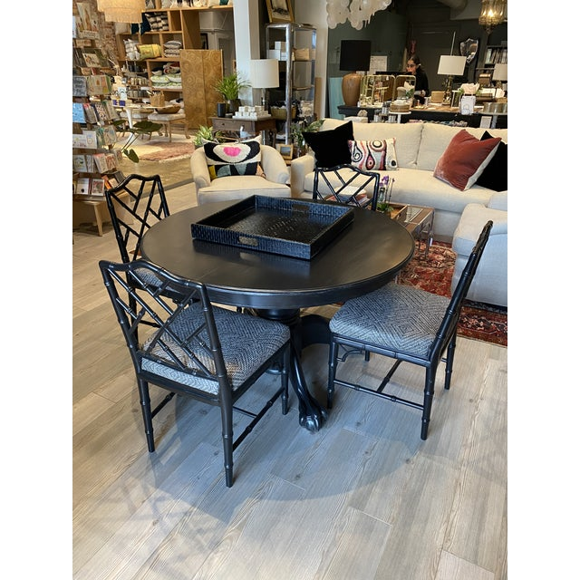 1940s Antique Black Round Oak Claw Foot Dining Table For Sale - Image 5 of 12