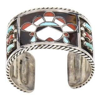 F. C. Gasper Native American Zuni Inlay Face Turquoise Silver Cuff Bracelet For Sale
