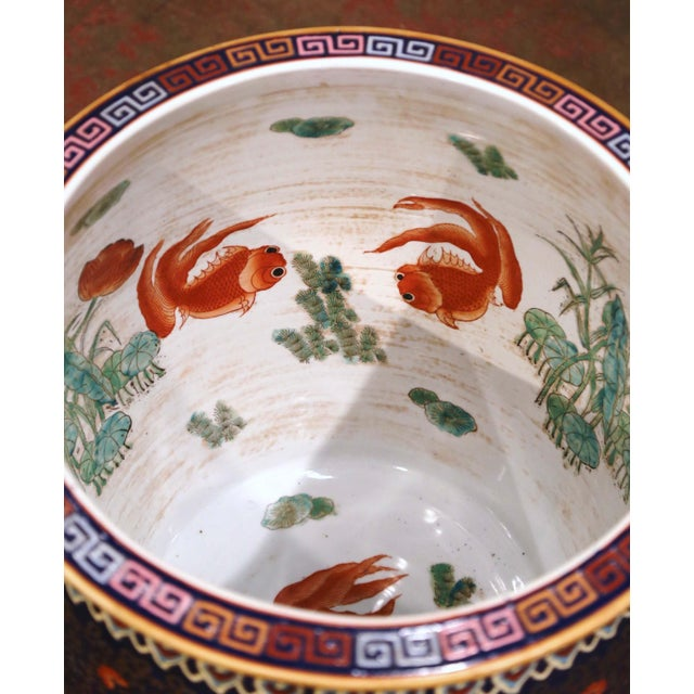Ceramic Midcentury Chinese Export Porcelain Fish Bowl With Oriental Decorations For Sale - Image 7 of 12