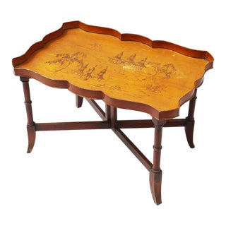 Vintage Chinoiserie Amber Tole Cocktail Tray Table With Pagodas and Wood and Brass Base For Sale
