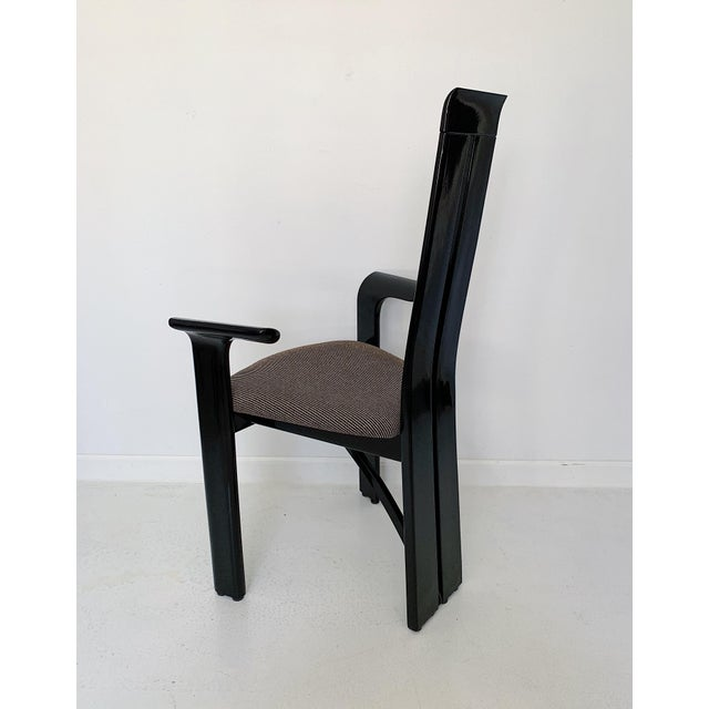 Wood 1990s Vintage Italian Pietro Costantini High Back Black Lacquer Dining Chairs- Set of 6 For Sale - Image 7 of 13