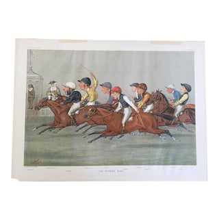 1888 Original Vanity Fair the Winning Post Double Page Jockey / Horse Racing Print For Sale