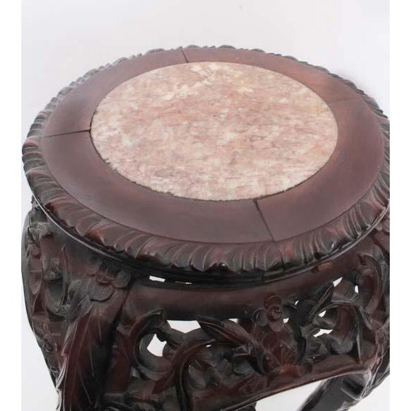 Asian Antique Chinese Carved Rosewood Marble Top Stand For Sale - Image 3 of 7