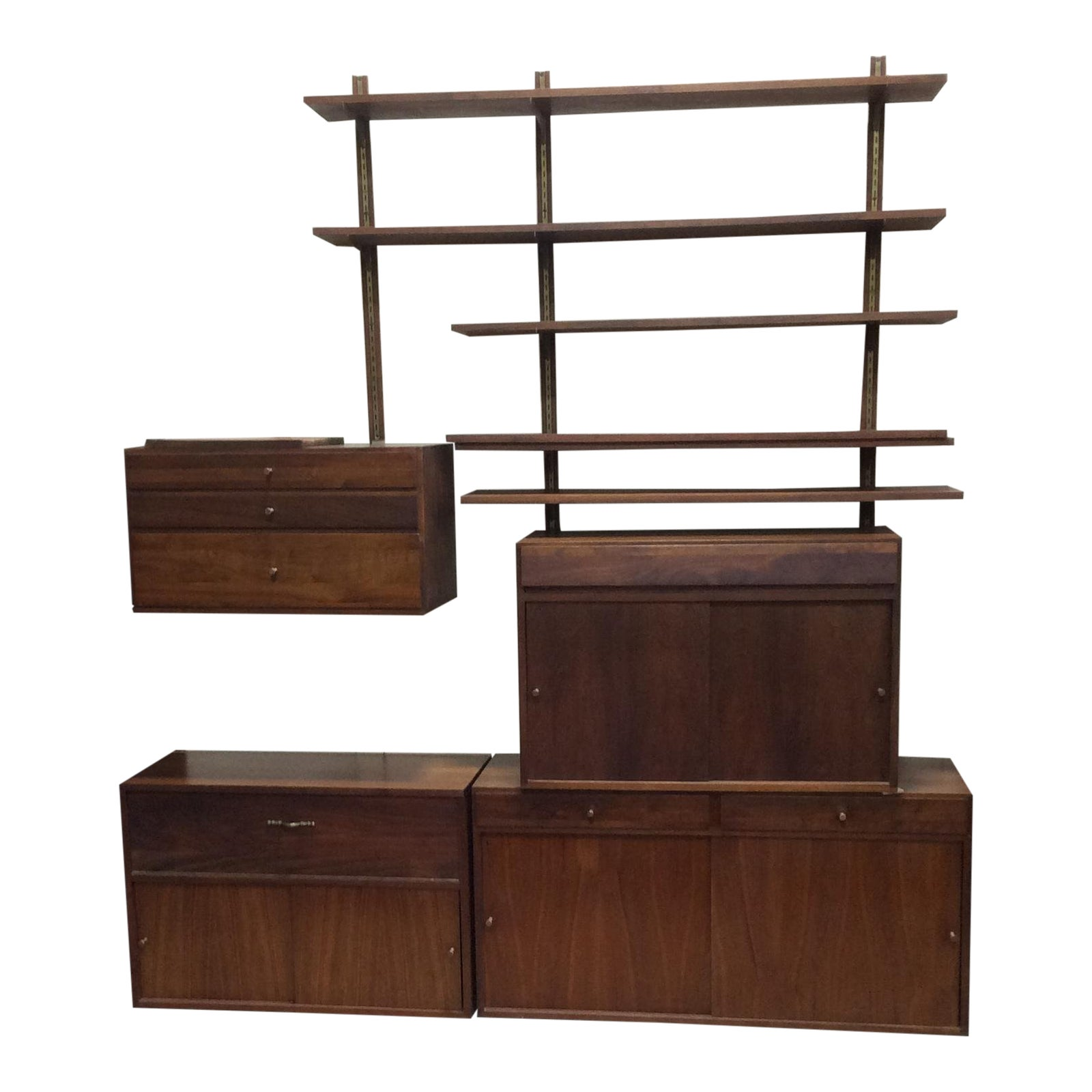 Paul cado style walnut shelving and wall cabinet system chairish