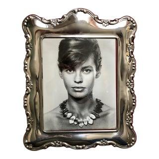 """Vintage 15"""" Ornate Pewter Portrait Frame-Velvet Easel Back For Sale"""