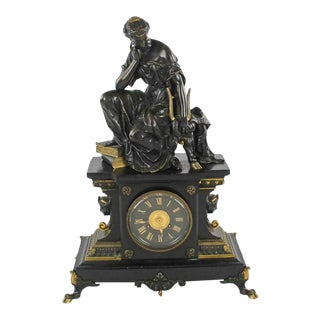 Late 19th Century French Classical Bronze and Slate Sculptural Mantle Clock For Sale