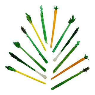 Mid-Century Modern Blown Glass Vegetable Cocktail Swizzle Sticks - Set of 12 For Sale
