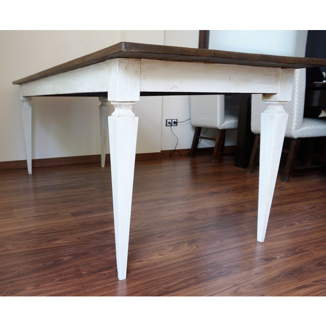 Cottage 20th French painted dining farm table For Sale - Image 3 of 9