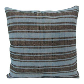 Blue / Brown Striped Kilim Pillow Cover For Sale