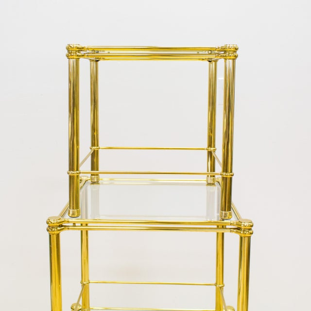Italian Brass & Glass Nesting Tables - Set of 3 - Image 7 of 11