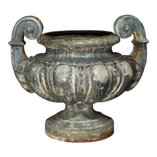 19th Century Cast Iron Enameled Urn From France For Sale