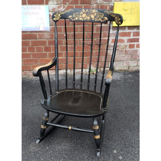 Black Vintage 1970s Black Hitchcock Style Painted Nichols & Stone Co. Rocking Chair Rocker For Sale - Image 8 of 11