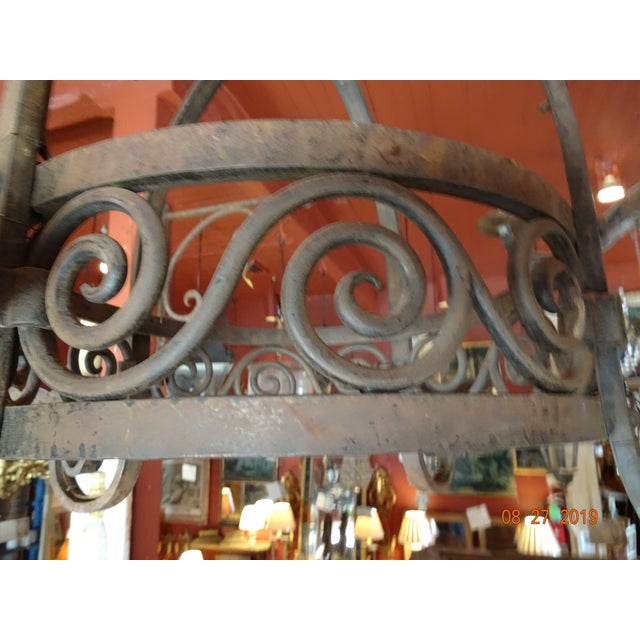 French Vintage French Wrought Iron Chandelier For Sale - Image 3 of 12
