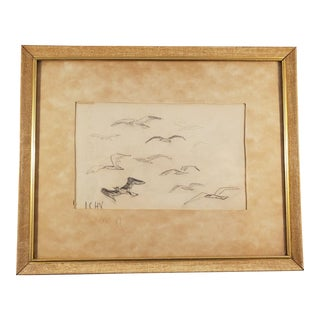 Early 20th Century Antique l.c.h Vreugdenhil Flying Birds Framed Drawing For Sale