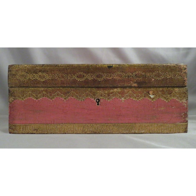 Italian Vintage Pink & Gold Florentine Wooden Box For Sale - Image 3 of 7