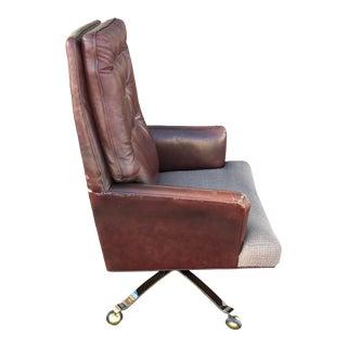 Edward Wormley Executive Leather High-Back Swivel-Tilt Desk Chair on Sculptural Bronze Base for Dunbar For Sale