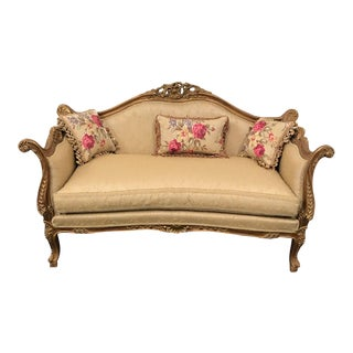 French Style Handmade Natural Wood Gilded Sofa For Sale