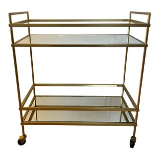 West Elm Brass and Glass Terrace Bar Cart For Sale