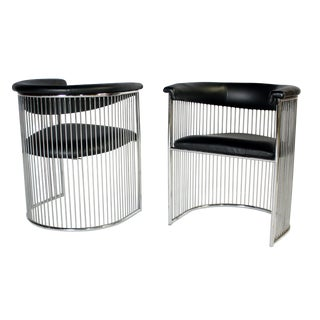 Platner Style Chrome & Black Vinyl Chairs - A Pair For Sale
