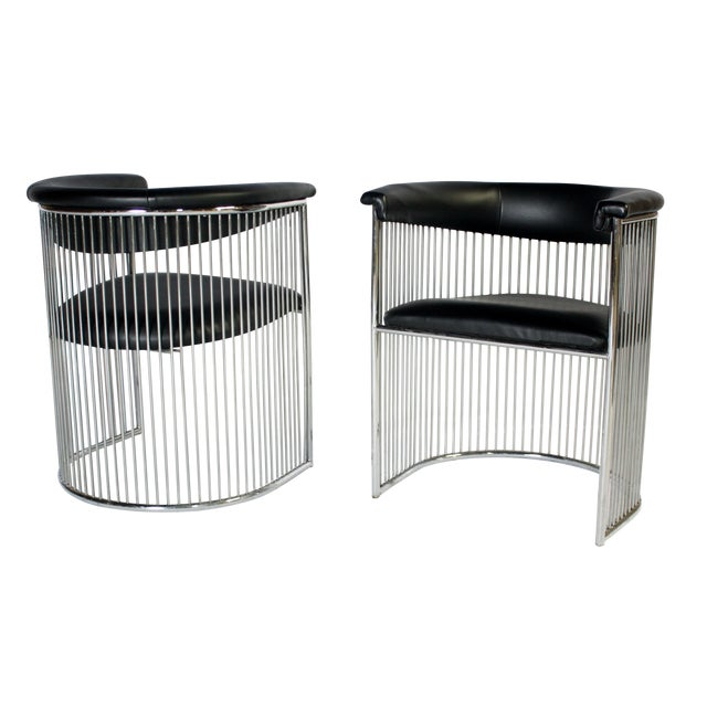 Platner Style Chrome & Black Vinyl Chairs - A Pair - Image 1 of 8