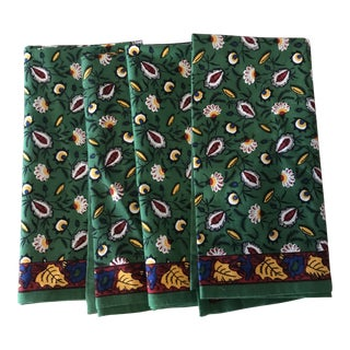 Block Print Green Yellow Blue Leaves Cotton Napkins - Set of 4