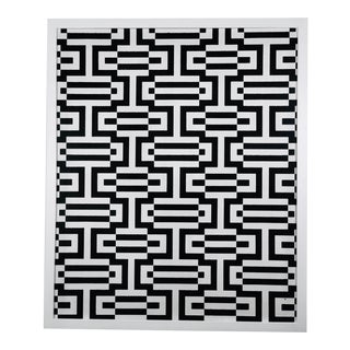 1960's Vintage Veresely Style Hand-Block Printed Black & White Op Art Framed Wallpaper For Sale