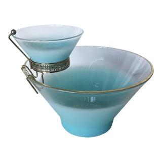 Mid 20th Century Vintage West Virginia Glass Blendo Turquoise Chip and Dip Set - a Pair For Sale