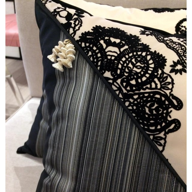Black DWM   MALOOS Contemporary Dia Noire Flocked Pillows - a Pair For Sale - Image 8 of 13