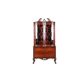 Romweber Ornate Flame Mahogany Chippendale Curved Glass Dining Cabinet or Bookcase, Circa 1930s For Sale