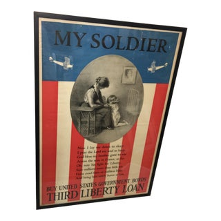 1918 Antique WWI My Soldier Third Liberty Loan Poster For Sale