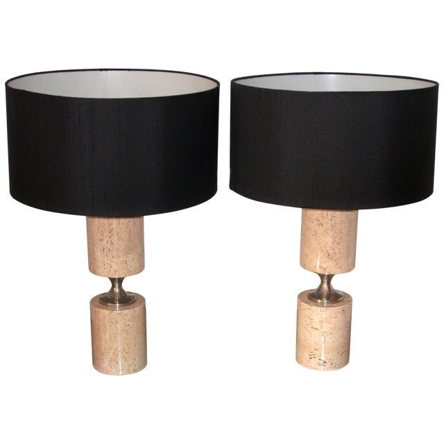 Pair of Travertine and Nickel Table Lamps Attributed to Maison Barbier For Sale